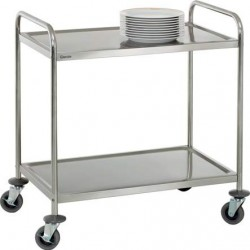 Chariot inox 2 plateaux 92 cm