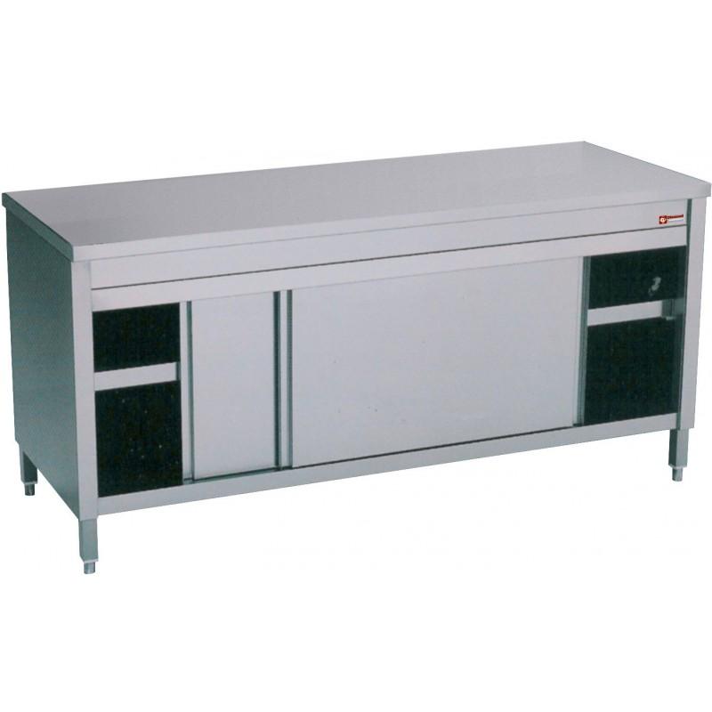 Table armoire inox cuisine professionnelle avec portes for Cuisine professionnelle inox