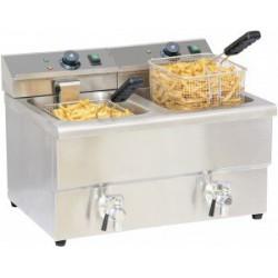Friteuse électrique 2 x 8 litres avec vidange