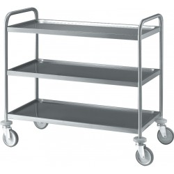 Chariot inox 3 plateaux 100 cm