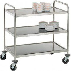 Chariot inox 3 plateaux 92 cm