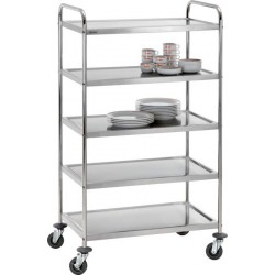 Chariot inox 5 plateaux 92 cm