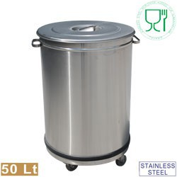 Poubelle inox 50 litres