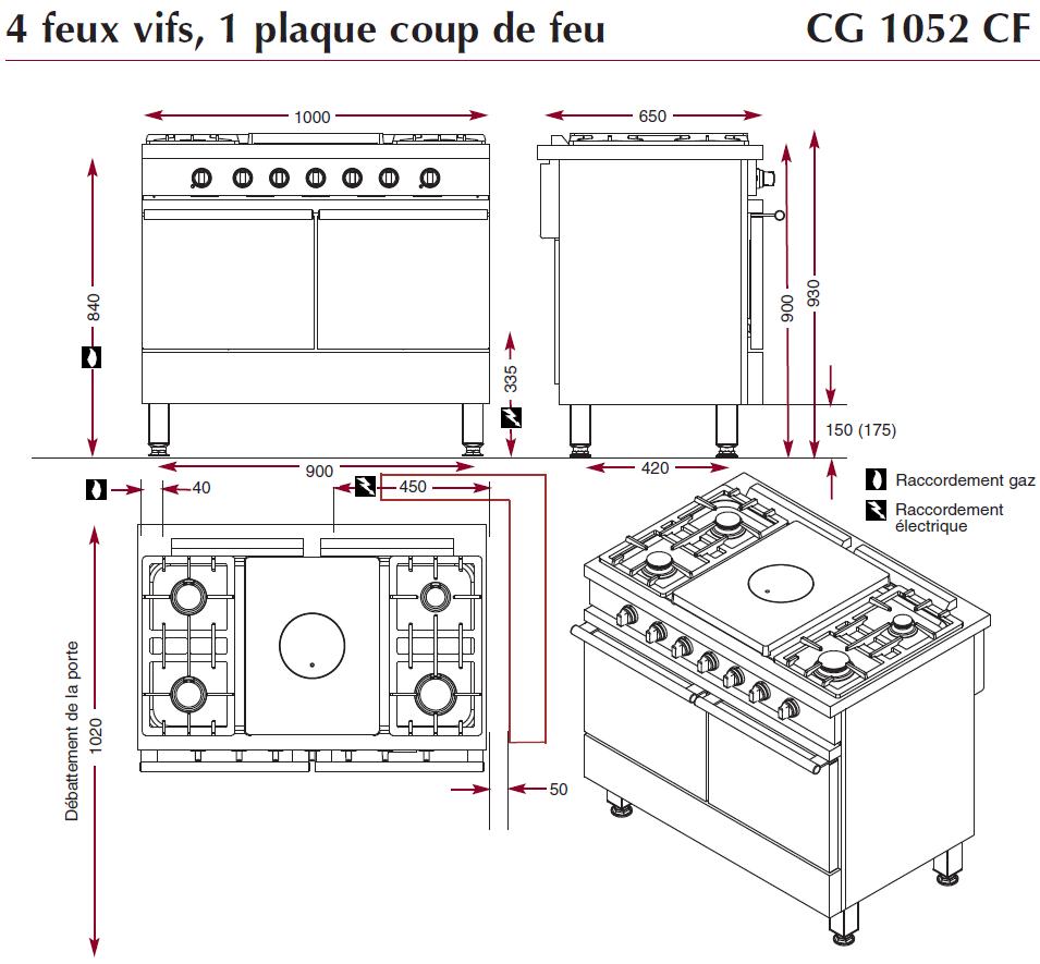 Dimensions Fourneau Ambassade CG1052CF