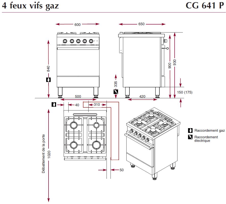 Détails dimensions fourneau CG641P