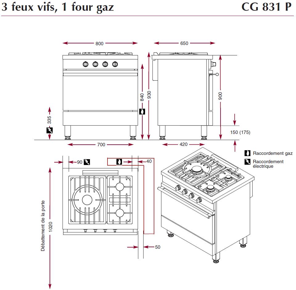 dimiensions fourneau CG831P