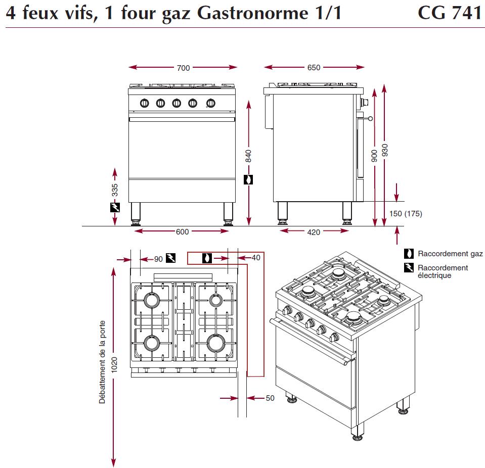 Dimensions fourneau Ambassade CG741